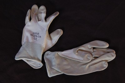 Thin White Gardening Gloves - medium image 1